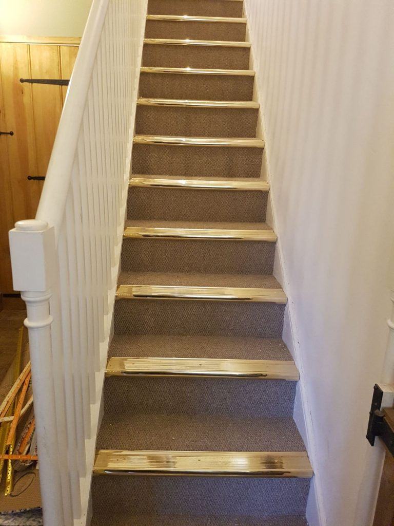 Stair Case With Solid Brass Stair Nosing S Haddenham Carpets